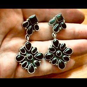 Navajo Emma Lincoln Onyx Sterling Silver Earrings